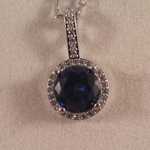 18K WGF Navy Blue Topaz Zircon Pendant Necklace